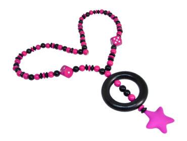 Still-/Tragekette Silikonstern pink